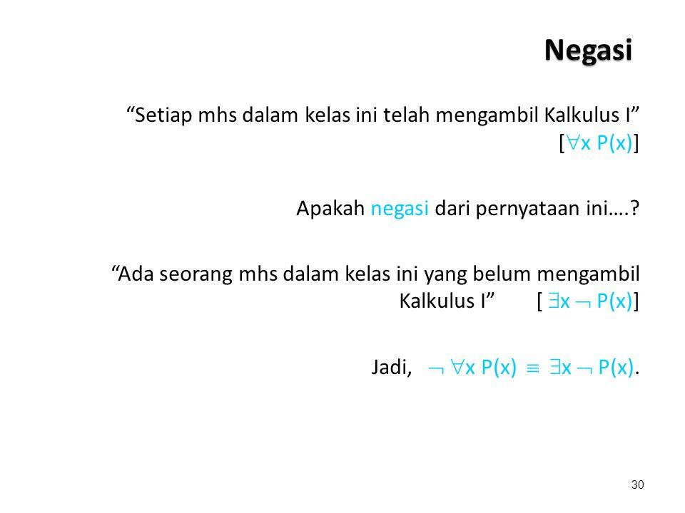Negasi Setiap mhs dalam kelas ini telah mengambil Kalkulus I [x P(x)] Apakah negasi dari pernyataan ini….